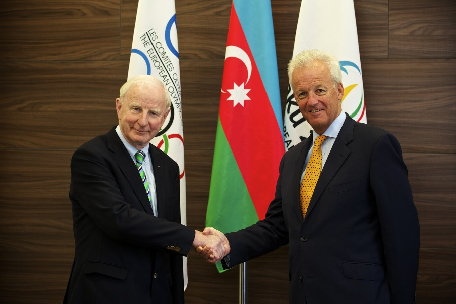 Pat Hickey, President European Olympic Committees with Simon Clegg, Chief Operating Officer, Baku 2015 European Games