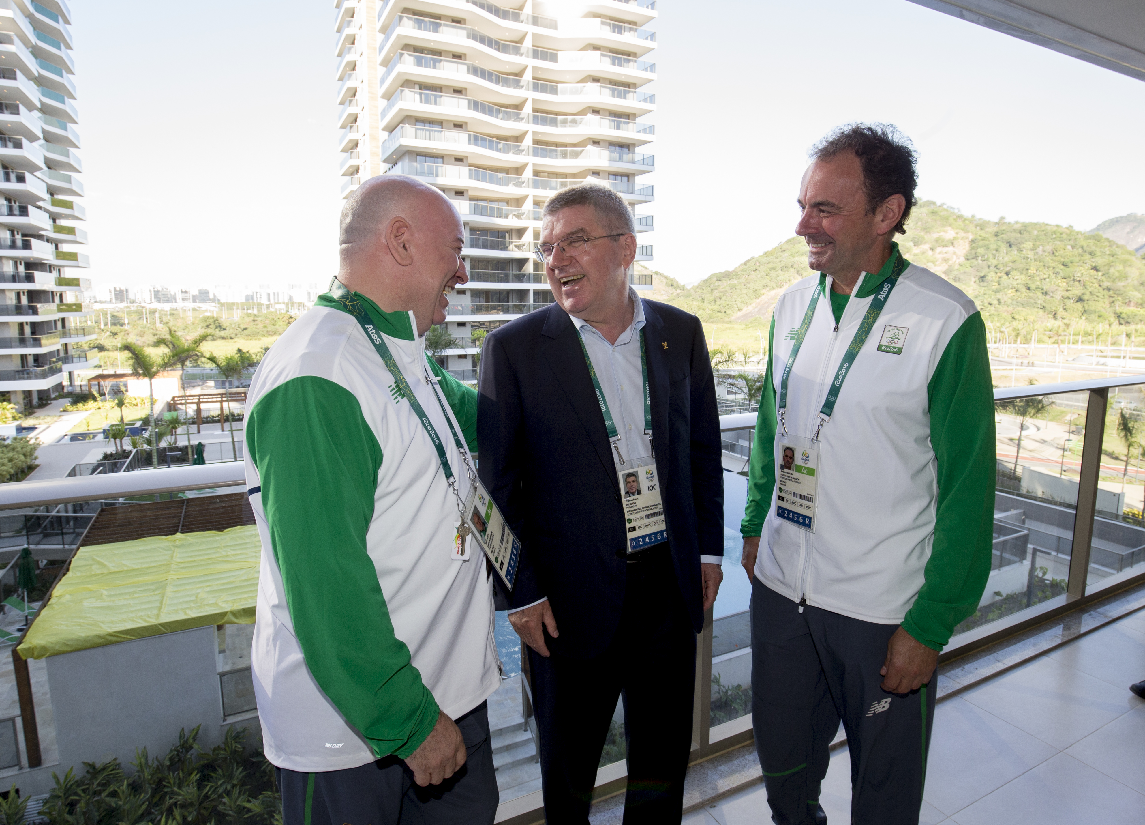 RIO DE JANEIRO - BRAZIL- 27th July 2016:  IOC President Thomas Bach arrives in Rio De Janeiro to attend the Rio 2016 Olympic Games. President Bach went directly to the Olympic Village from the airport to meet athletes and view the facilities in the village. Meeting members of the Ireland NOC in their accommodation  Photograph by Ian Jones