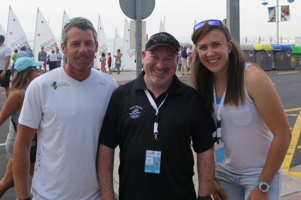 Coach Rory Fitzpatrick, Team Ireland Chef de Mission Kevin Kilty and Annalise Murphy