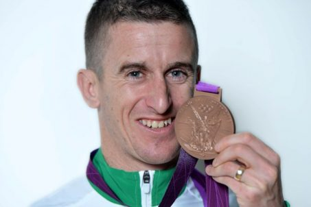 Provision 031116 Olympian Rob Heffernan celebrates with his bronze medal in Cork last night Pic Michael Mac Sweeney/Provision
